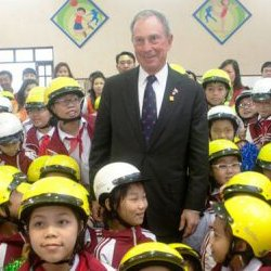 Michael Bloomberg at a Road Safety event in Vietnam